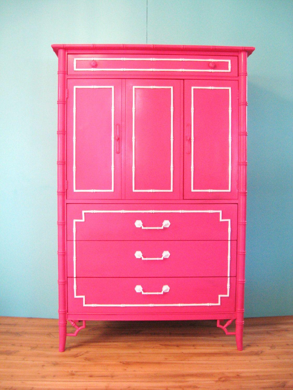 Vintage HOLLYWOOD REGENCY Hot Pink Faux BAMBOO Chest Dresser ...
