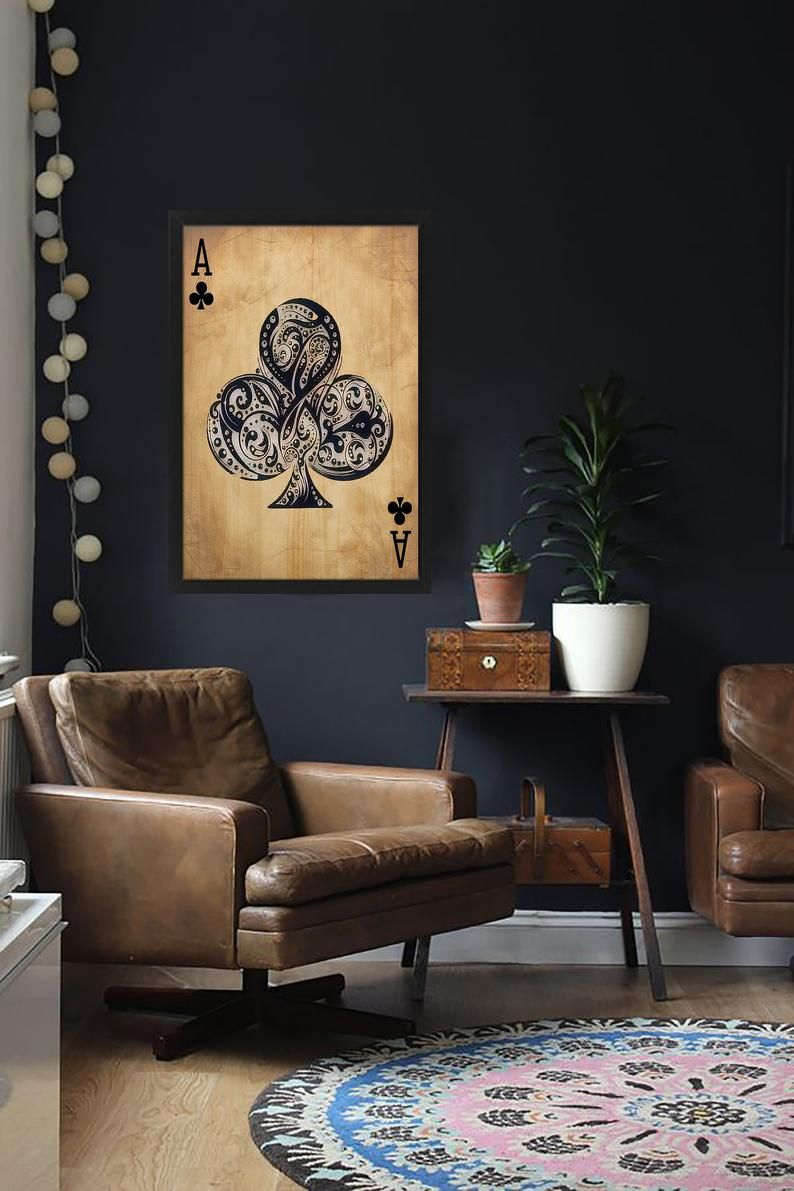 Playing Card Wooden Paintings Wooden Wall Art Etsy In 2021 Masculine Living Rooms Wall Painting Living Room Wooden Painting