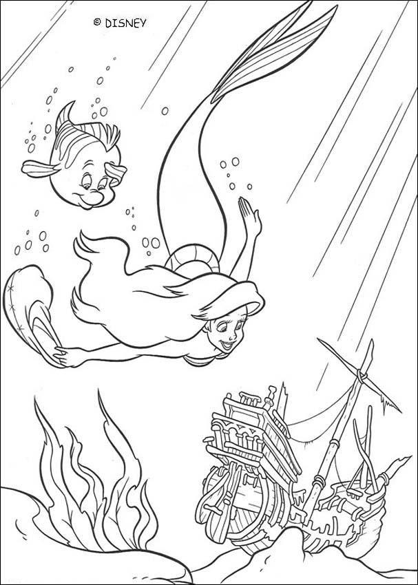 Un Coloriage Sur Le Conte Disney De La Petite Sirène Avec Ici La