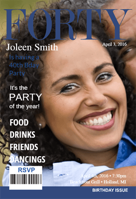 40th Womens Magazine Cover Birthday Invitation Template Free Greetings Island 40th Birthday Invitations Birthday Invitation Templates Printable Birthday Invitations
