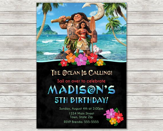 Moana Birthday Invitation Maui Invite Printable File Or