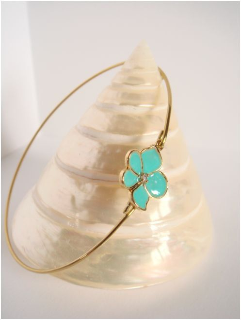 Gold and turquoise flower bangle  Turquoise flower by Cecileis, $12.00