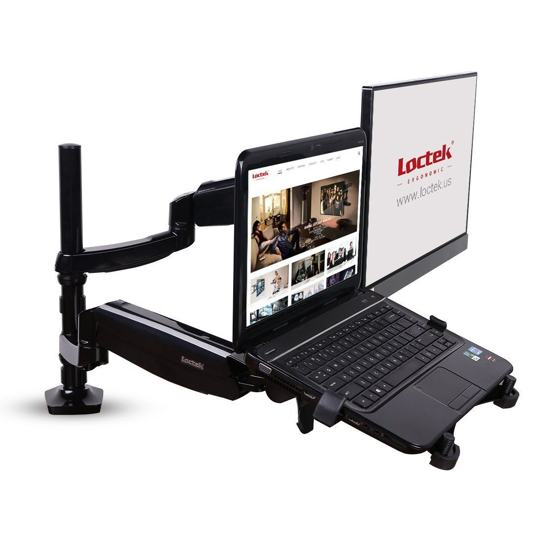 360º rotating height adjustable laptop /& Monitor mount//stand gas spring arm-Blk