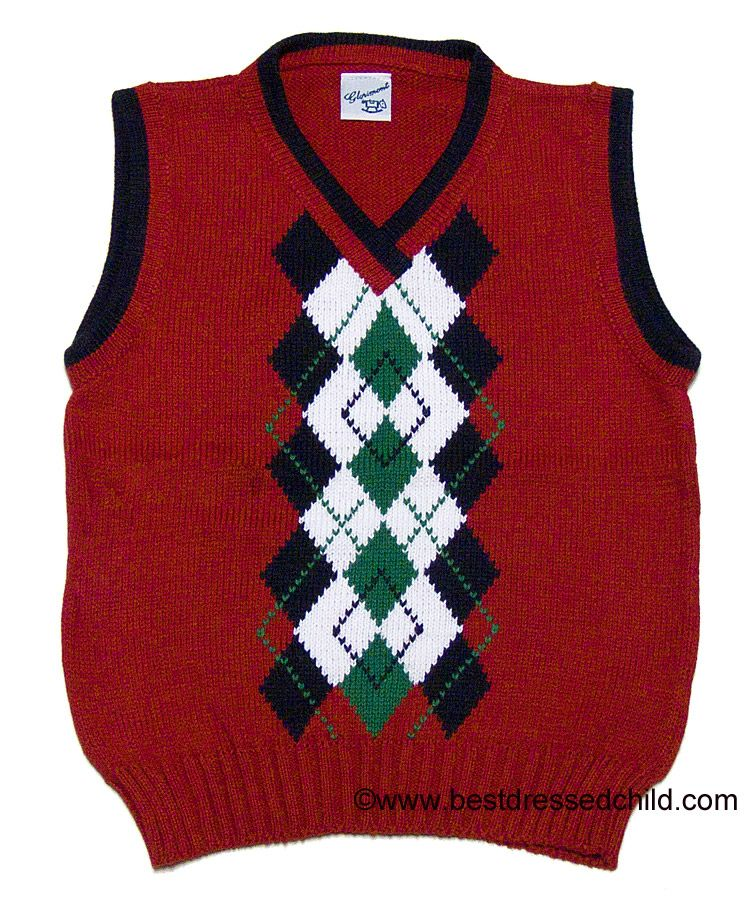 Glorimont Boys Christmas Red Sweater Vest with Navy Blue / Green ...
