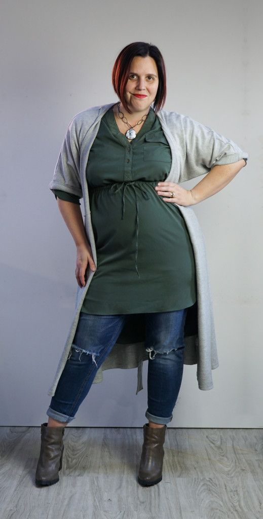 one dress challenge, day 28: grey wrap dress, green shirt dress, and jeans