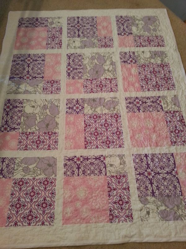 Twin sized pink and purple quilt for our niece Emma's 2nd