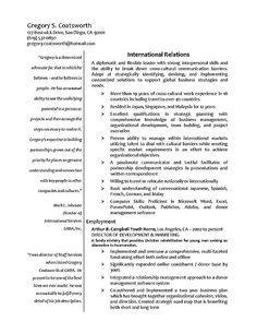 international relations resume sample