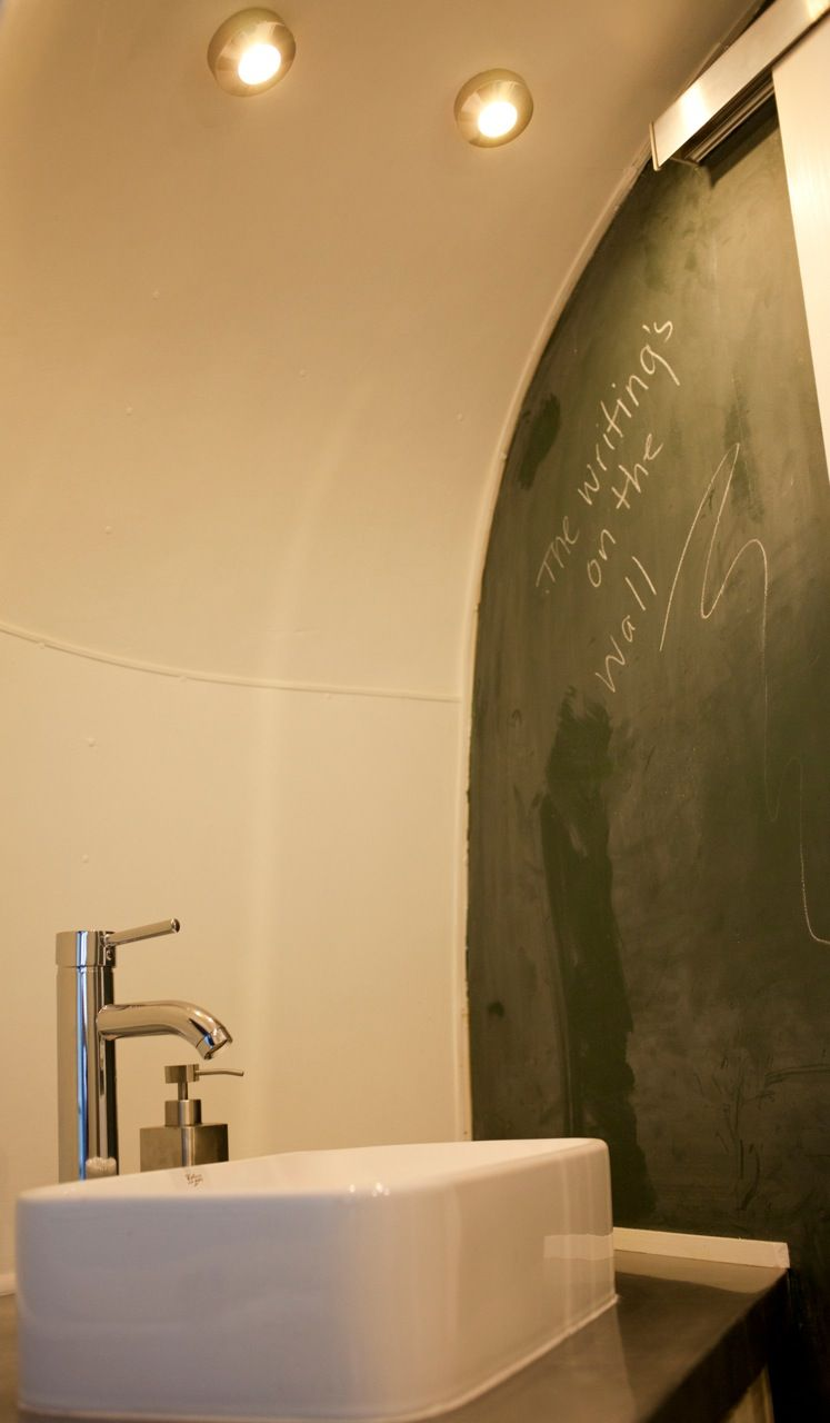 Love the chalk wall idea in the bathroom | New Airstream Ideas ...