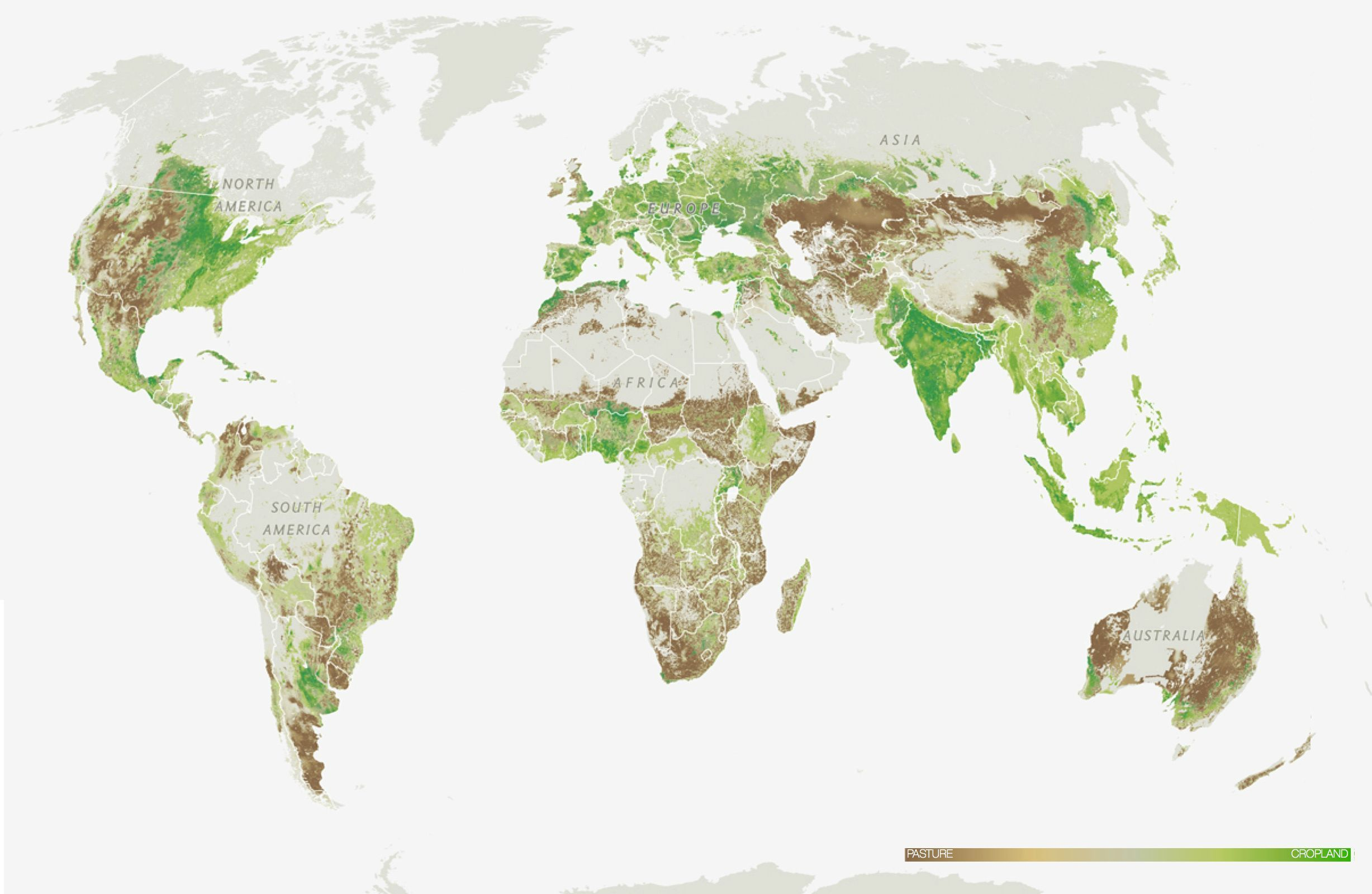 Pasture vs cropland map by National Geographic