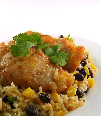 Southwestern Skillet Chicken with Rice and Black Beans