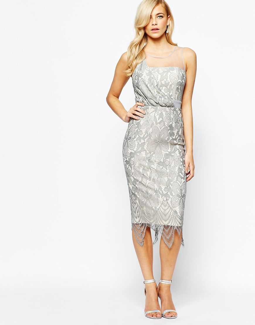 Image of little mistress all over lace midi dress with scallop hem