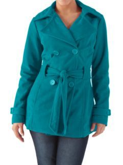 Long Sleeve Peacoat with Self Belt at Dots