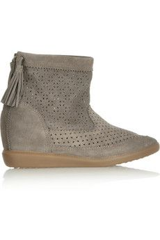 8ed91cd2023c Isabel Marant Beslay perforated suede concealed wedge ankle boots ...