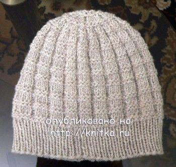 Мужская шапка, связанная спицами, Вязание для мужчин ...