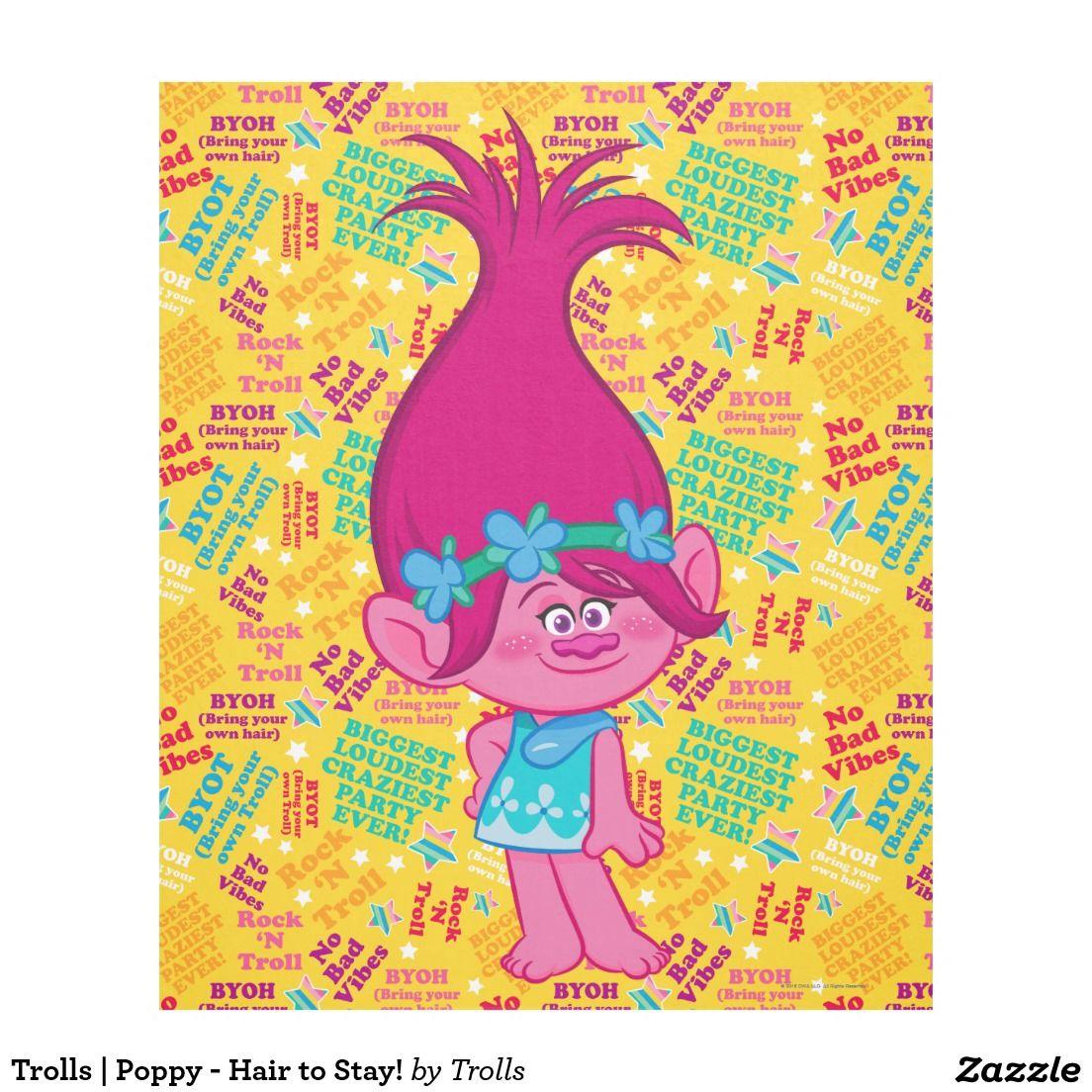 Trolls poppy hair to stay fleece blanket trolls movie