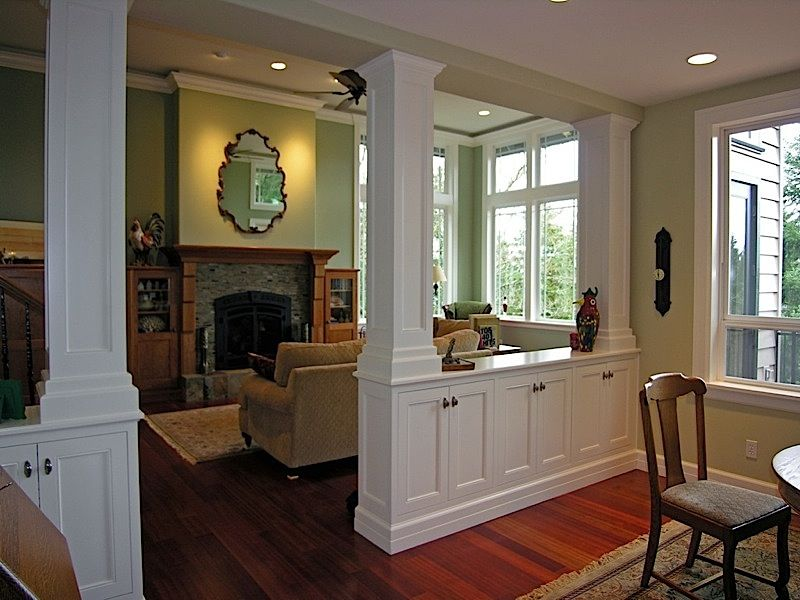 Living room dining room divider cabinetry w storage for Living dining room separation ideas