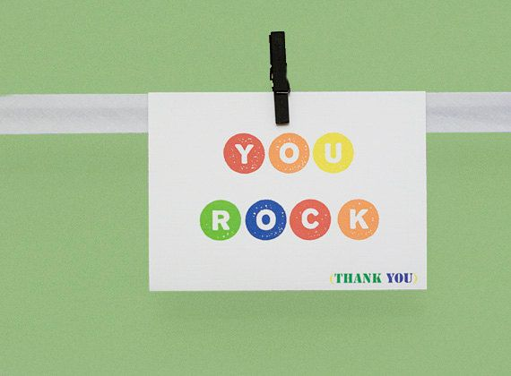 You Rock thank you  4x55 folded greeting by LifesSimpleMoments, $3.00  http://www.etsy.com/treasury/MTQ0MTEwMTh8MjA5NDYwNzM2OA/meet-me-in-your-wood