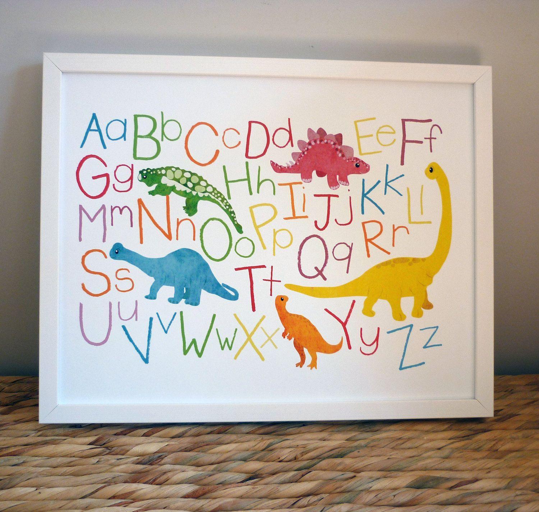 Alphabet Poster Az Dinosaur Art Illustration By