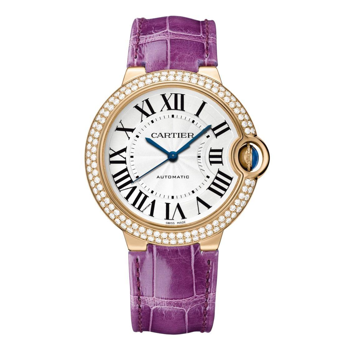 Cartier Ballon Bleu 36mm 18k Pink Gold And Diamonds Watch