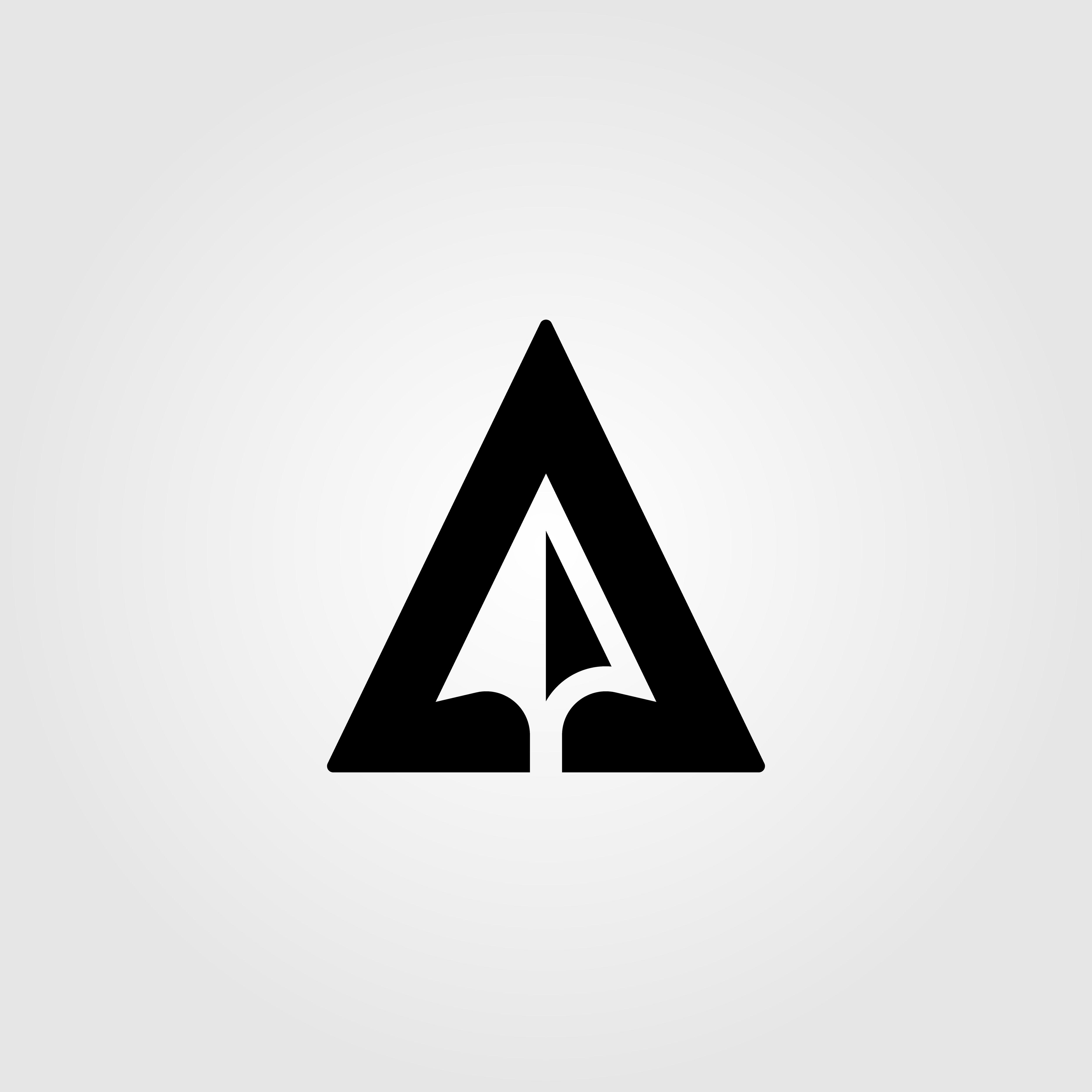 letter, a, arrow, negative, space, logo, design