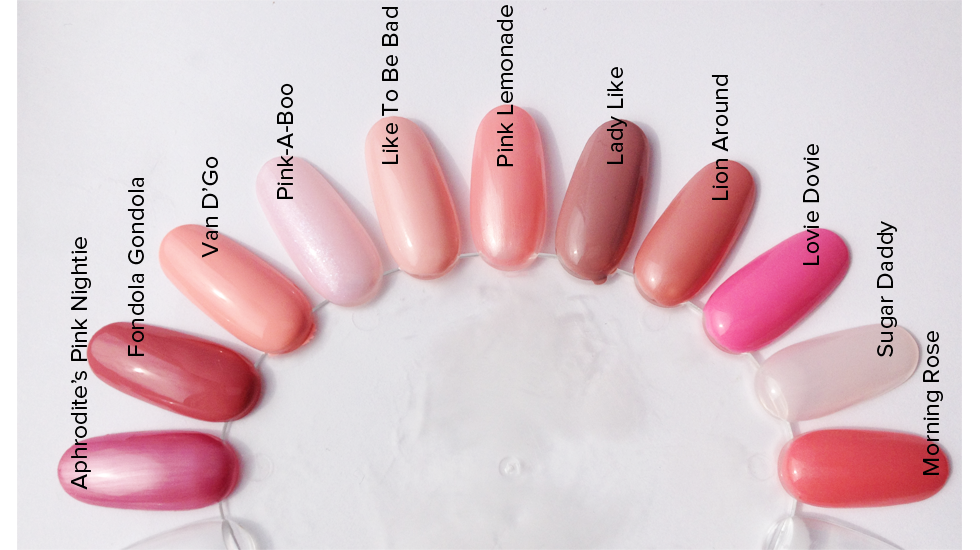 Pink polish swatches