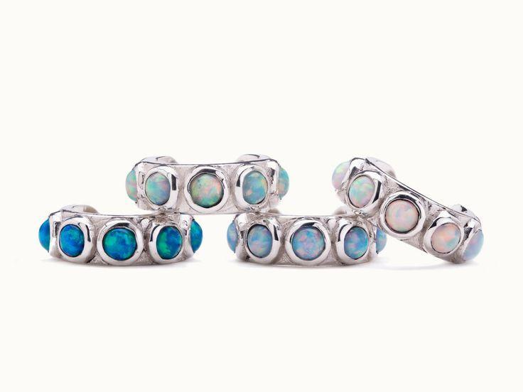 Sterling Silver Ear Cuff Earring Light Blue Opal Stones Inlay Ear Wrap Earrings Boho Jewelry  Sterling Silver Ear Cuff Earring Light Blue Opal Stones Inlay Ear Wrap Earri...