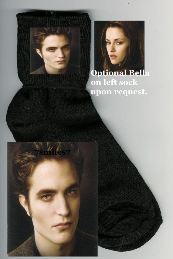 """Twilight Socks   The level of craftsmanship alone warrants these a place on the top 10. And of course the variety. (""""Optional Bella on left sock upon request""""--but really, why not two Edwards?) This talented sockstress also makes commemorative Patrick Swayze and Michael Jackson accessories."""