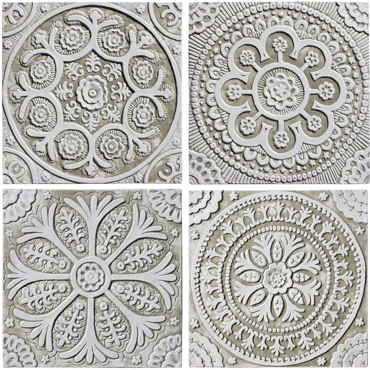 Suzani ceramic wall art 1 white 30cm ceramic wall art walls ceramic wall art suzani designs white collection hand made tiles architectural ceramics dailygadgetfo Gallery