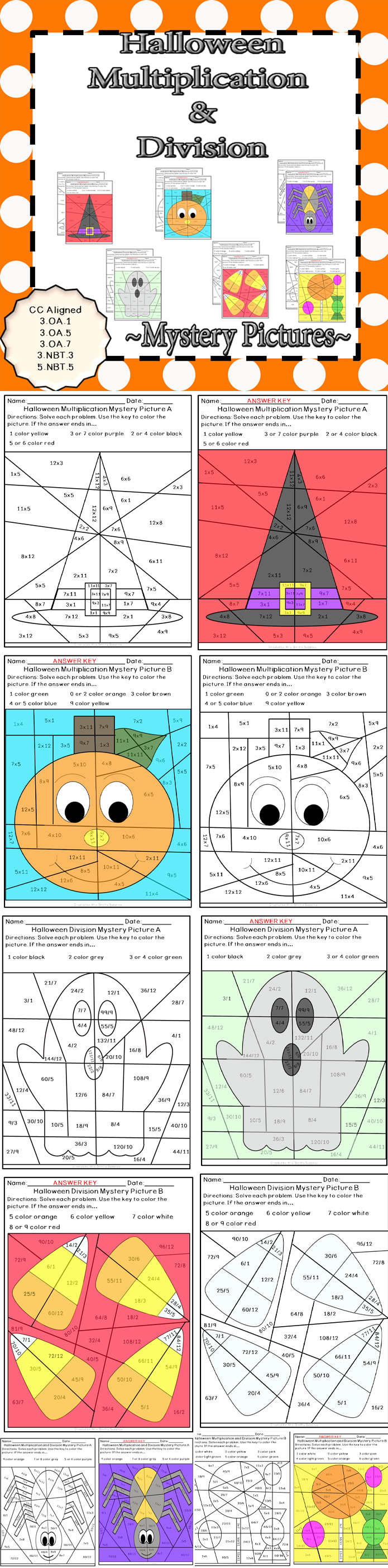 Halloween Multiplication and Division Mystery Pictures | Math fact ...