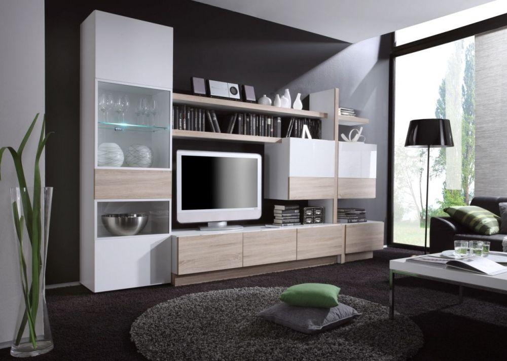 DUETT 2 Wohnwand Weiß Hochglanz/Sonoma Eiche | günstig Möbel online ...