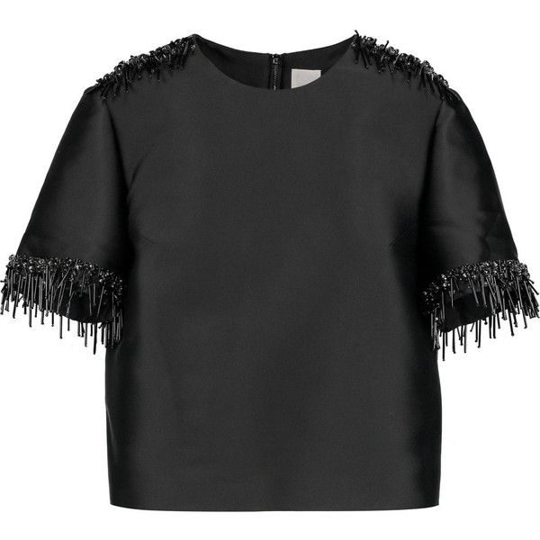 Iris and Ink Isabel embellished duchesse-satin top (€220) ❤ liked on Polyvore featuring tops, shirts, black, embellished tops, zip top, embellished shirt, beaded top and zipper shirt