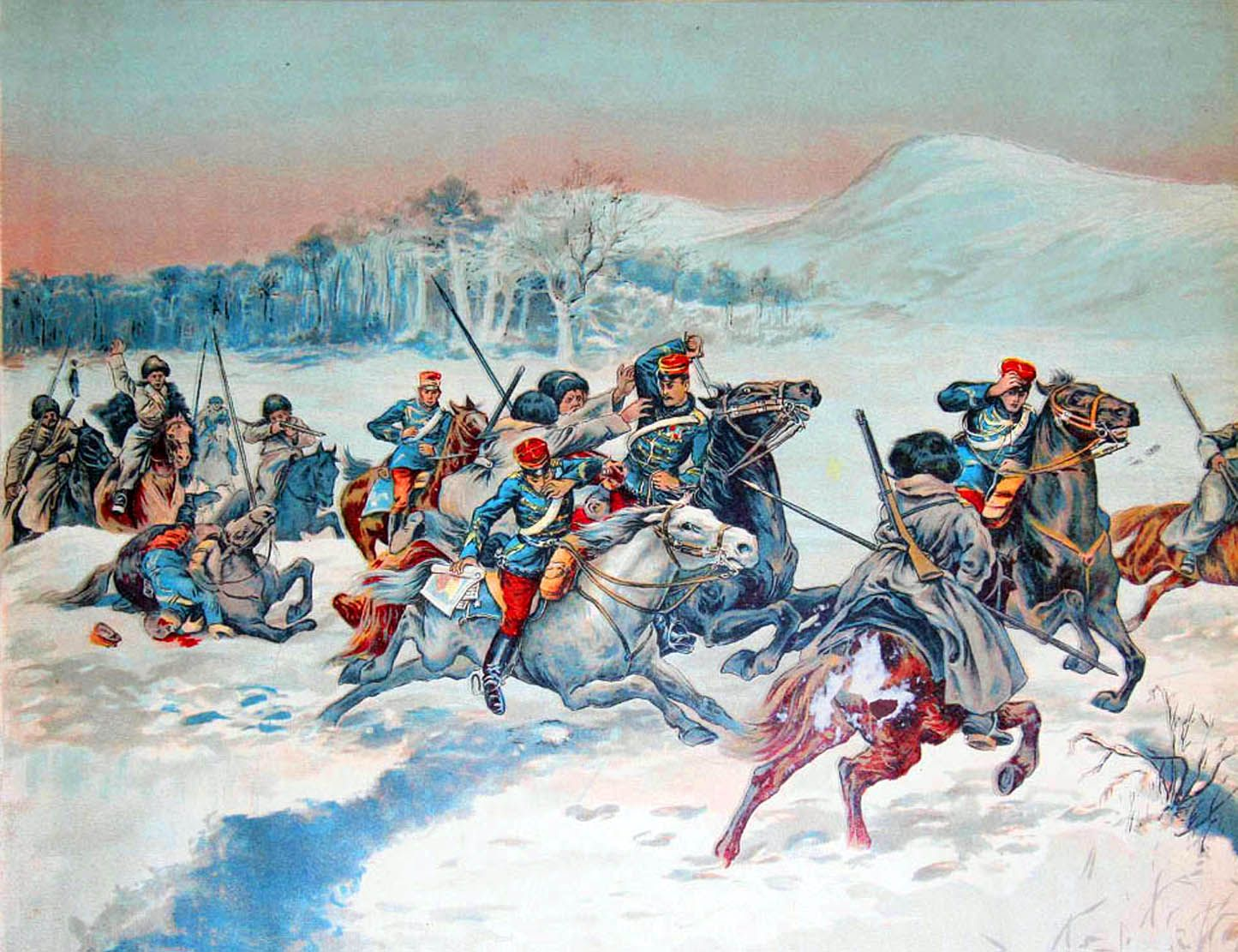 Skirmish Battle Between Russian Cossacks And Japanese Cavalry