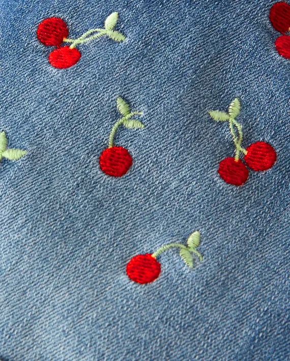 Girls Embroidered Cherry Shortalls - Very Cherry
