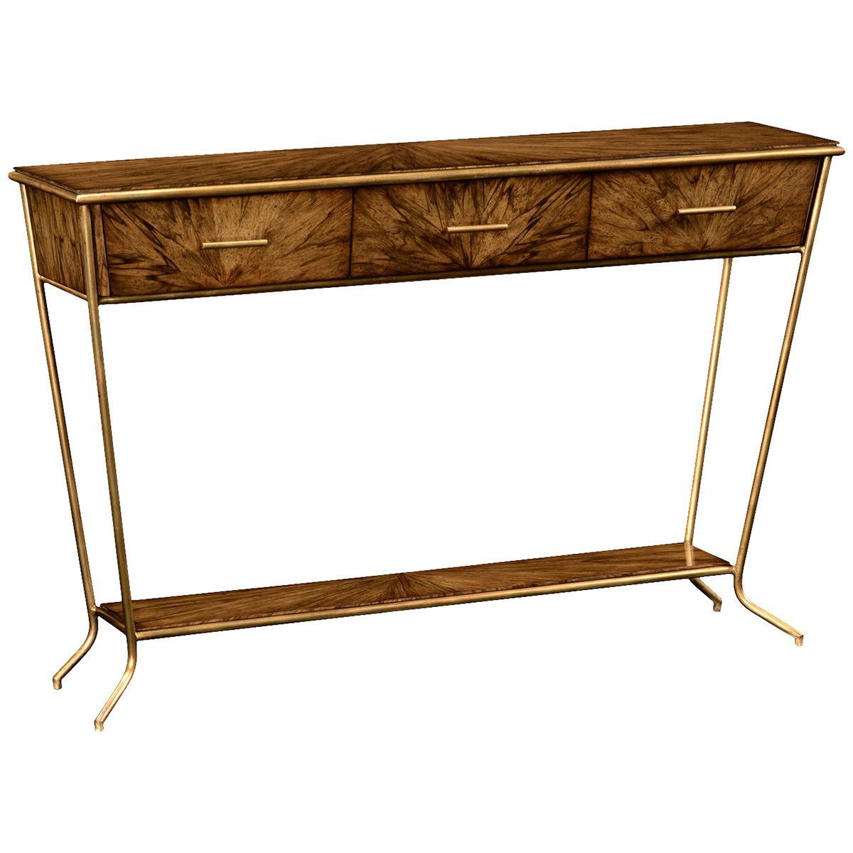 Jonathan Charles Argentinian Walnut Veneered Tapering Console Table ...