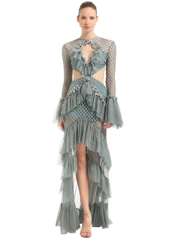 Raisa Vanessa Ruffled Cutout Dress In Green Modesens Pretty Short Dresses High Fashion Dresses Cutout Dress