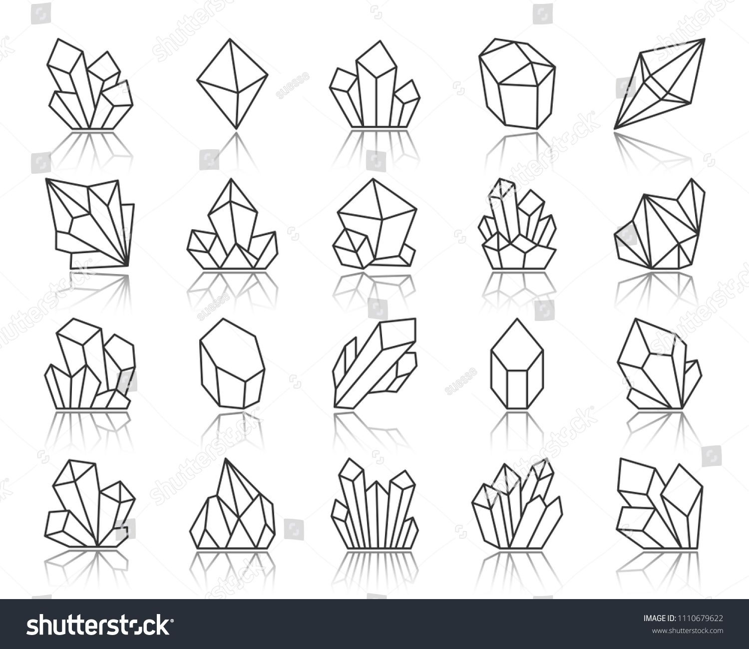 Crystal Thin Line Icons Set Outline Sign Kit Of Gemstone Mineral Linear Icon Collection Includes Diamond Crystal Drawing Jewel Drawing Crystals Art Drawing
