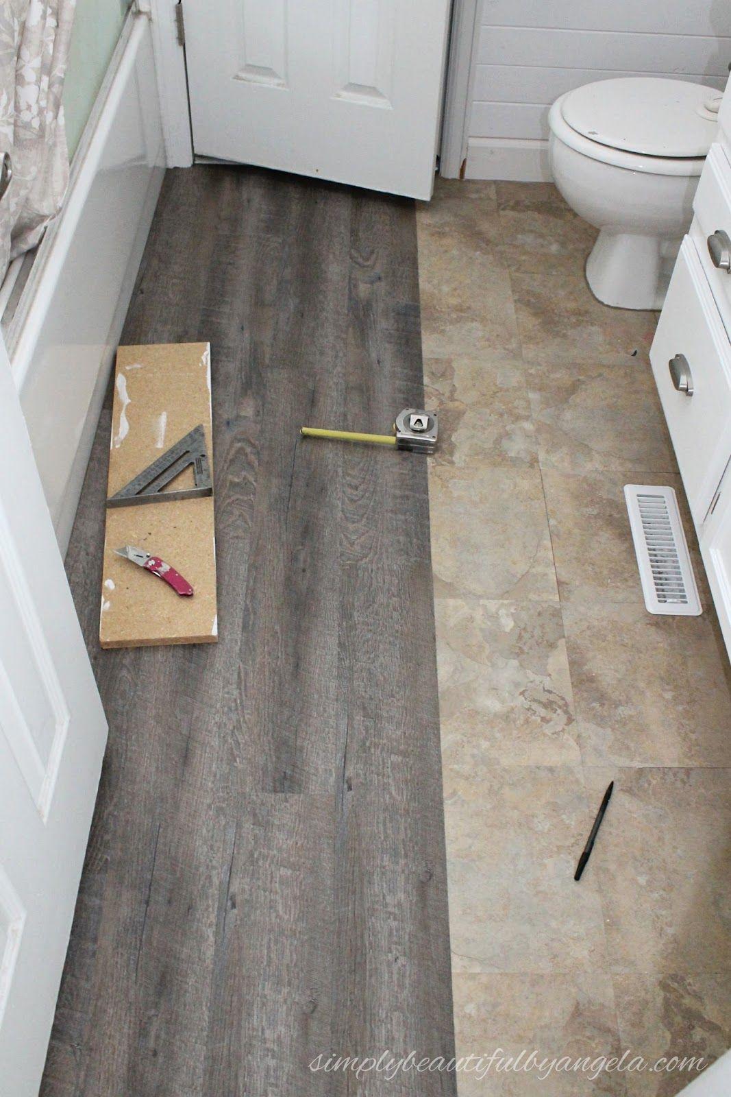 Updated Peel Sick Wood Look Floors Tutorial Cheap Bathroom Flooring Small Bathroom Tiles Floor Makeover