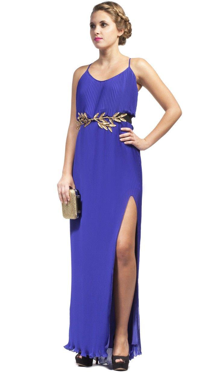 HOSS INTROPIA Vestido de fiesta de noche largo plisado azul ...