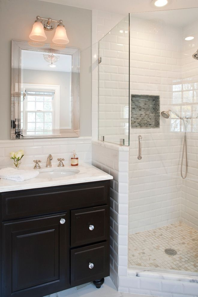 Charming Subway Tiled Shower Image Gallery in Bathroom