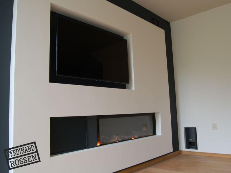 wand met haard en audiotv ferdinand rossen interieurbouw - Tv Wand