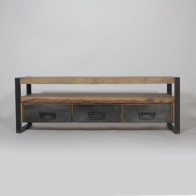 Meuble TV industriel 3 tiroirs en bois de Palissandre Ejercicios