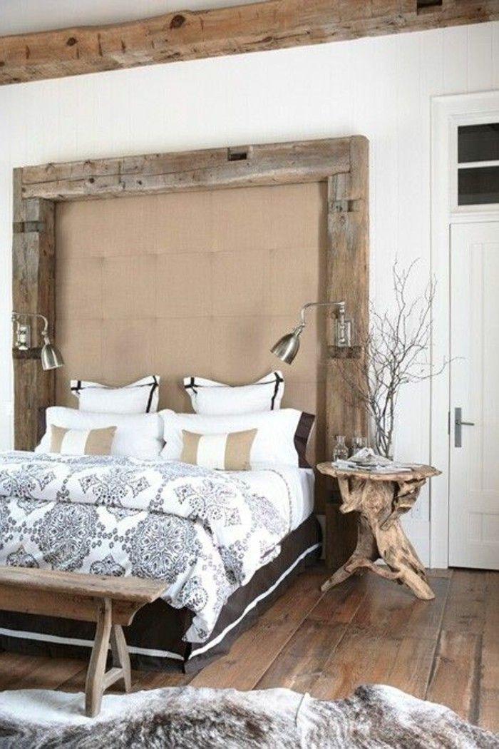 Wohnideen Schlafzimmer Treibholz Rustikal Holzboden Akzente Fellteppich