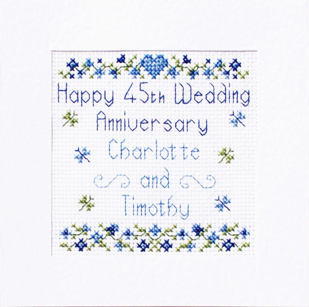 45th Sapphire Wedding Anniversary Card ღ Cross Stitch Kit