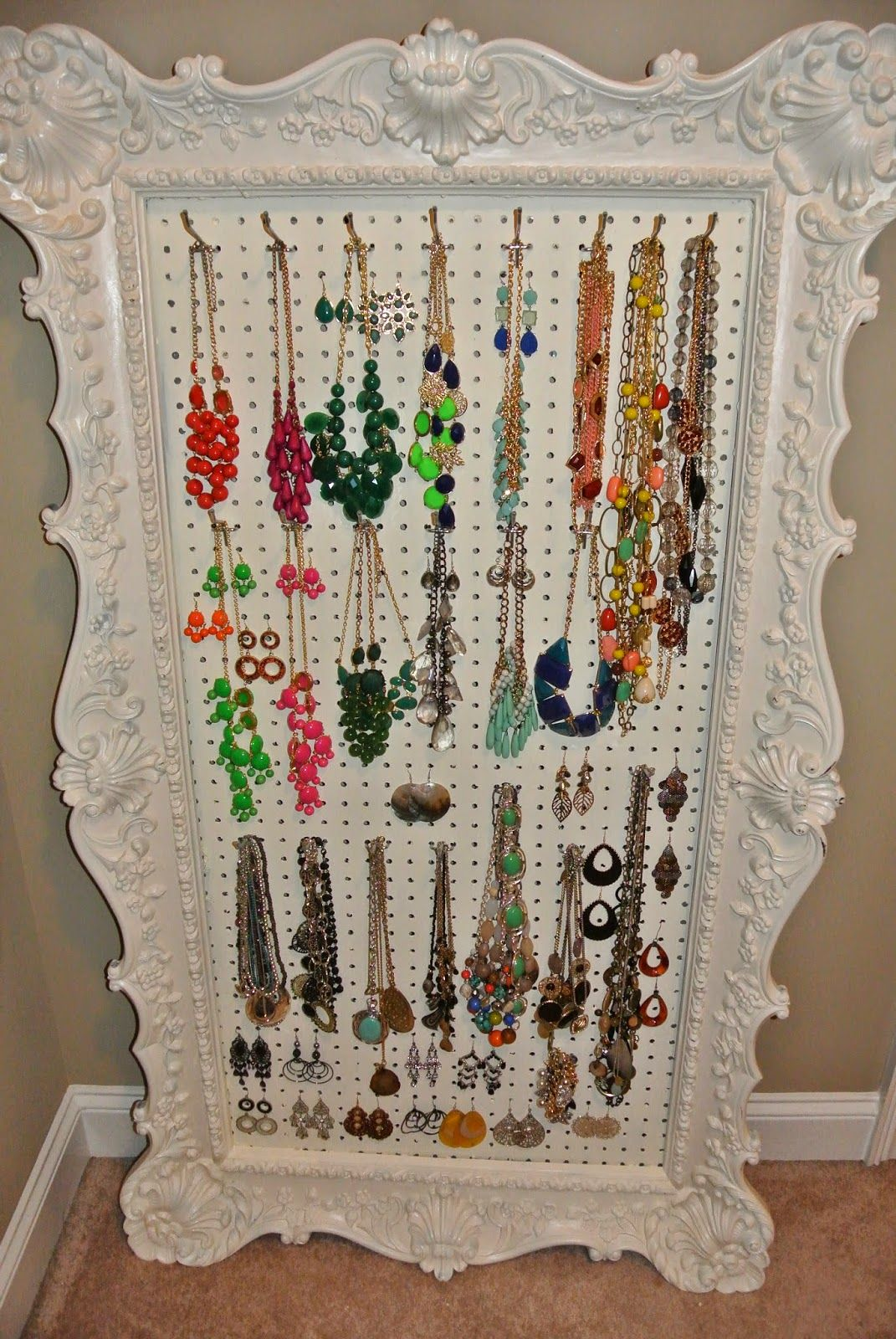 Mrs C With Style Diy Jewelry Display Pegboard Diy Jewelry Display Jewelry Storage Diy Diy Display