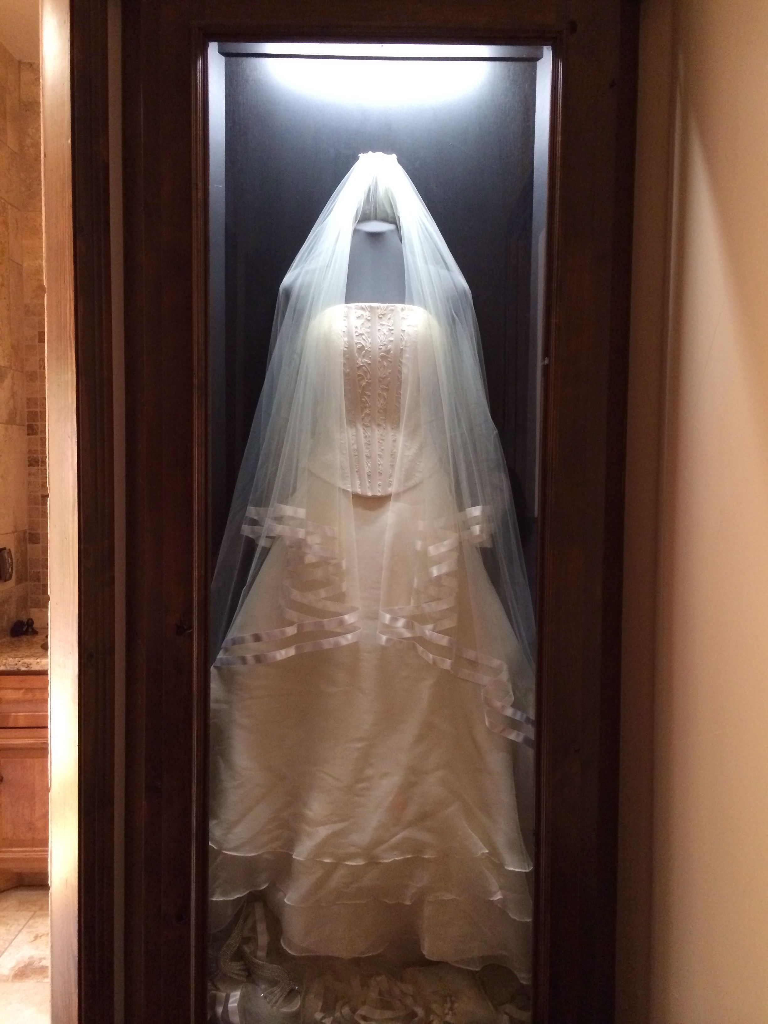 My Clients Wedding Dress A Built In Shadow Box With Her Wedding Gown Hung In The Hallway Th Wedding Dress Frame Wedding Dress Display Wedding Dress Shadow Box