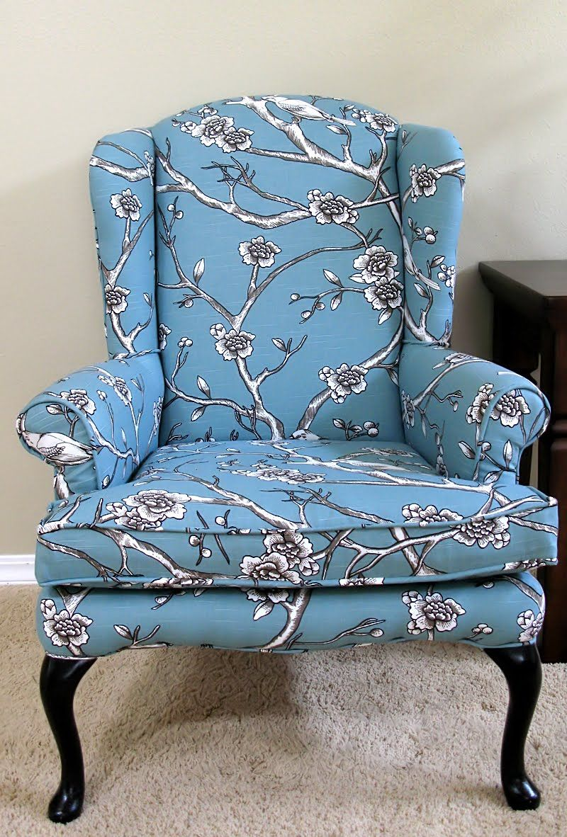 Blue print reupholstered wingback chair  Upholstered