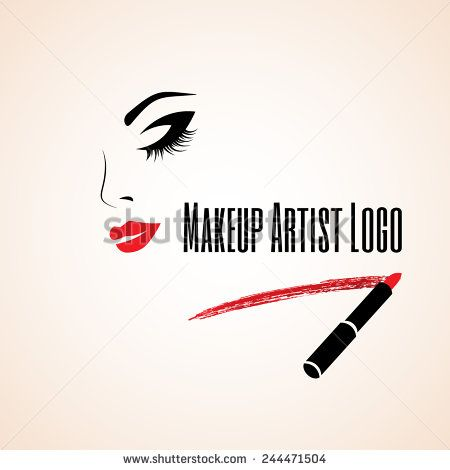 Abstract Woman Face With Closed Eye Trace Of Lipstick Makeup Artist Logo Vector Illustration Makeup Artist Logo Artist Logo Makeup Artist Logo Design
