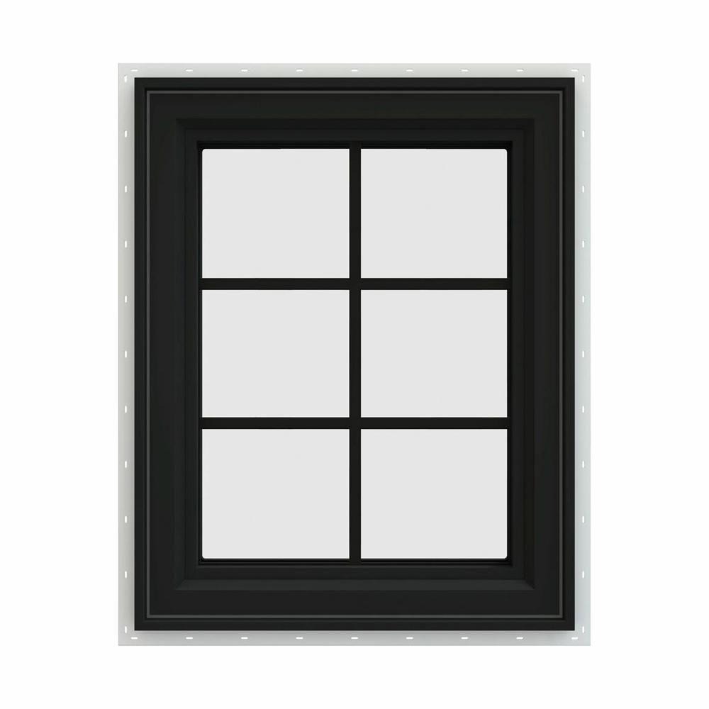 Jeld Wen 24 In X 30 In V 4500 Series Black Finishield Vinyl Left Handed Casement Window With Colonial Grids Grilles Casement Windows Windows Vinyl Frames