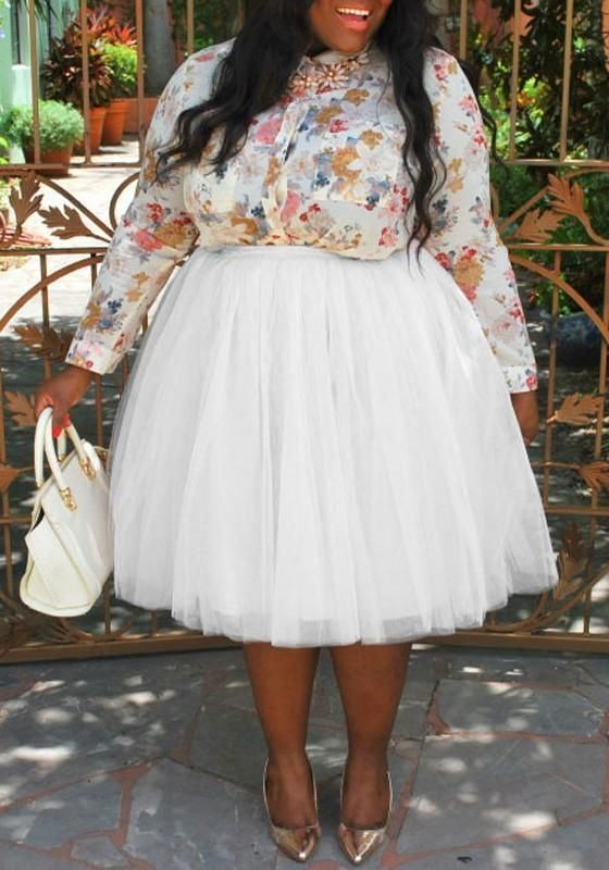 071549b458c067 White Pleated Grenadine Puffy Tulle Plus Size Tutu High Waisted Party Skirt