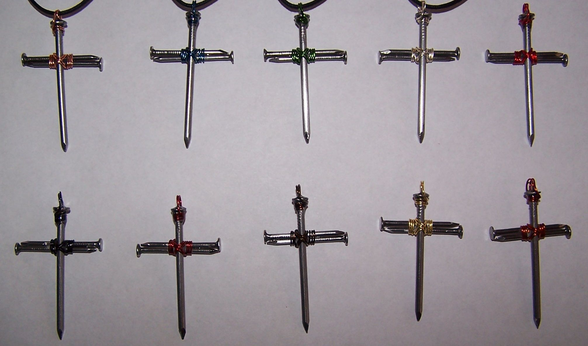Large nail cross Choice of colored wire. Green, Gold, Black, Copper ...